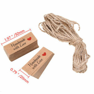100x-Kraft-Paper-HANDMADE-WITH-LOVE-Gift-Tags-Rustic-Wedding-Favor-Tag-Label