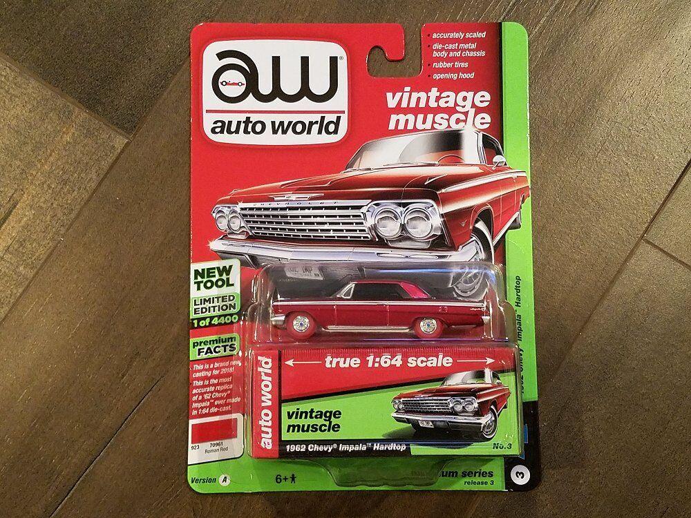 Auto World 1 64 1962 Chevrolet Chevrolet Chevrolet Impala Red Diecast Car AWSP008-A Chase Car 30eac0