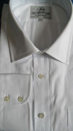"Harvie /& Hudson 19/""//35/"" Two Fold 100/% Cotton White Poplin Single Cuff Shirt"