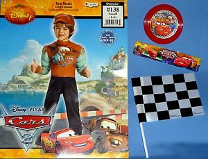 Disney Tow Mater Cars Costume Kids 4 6 Padded Jumpsuit Hat Disc Flag