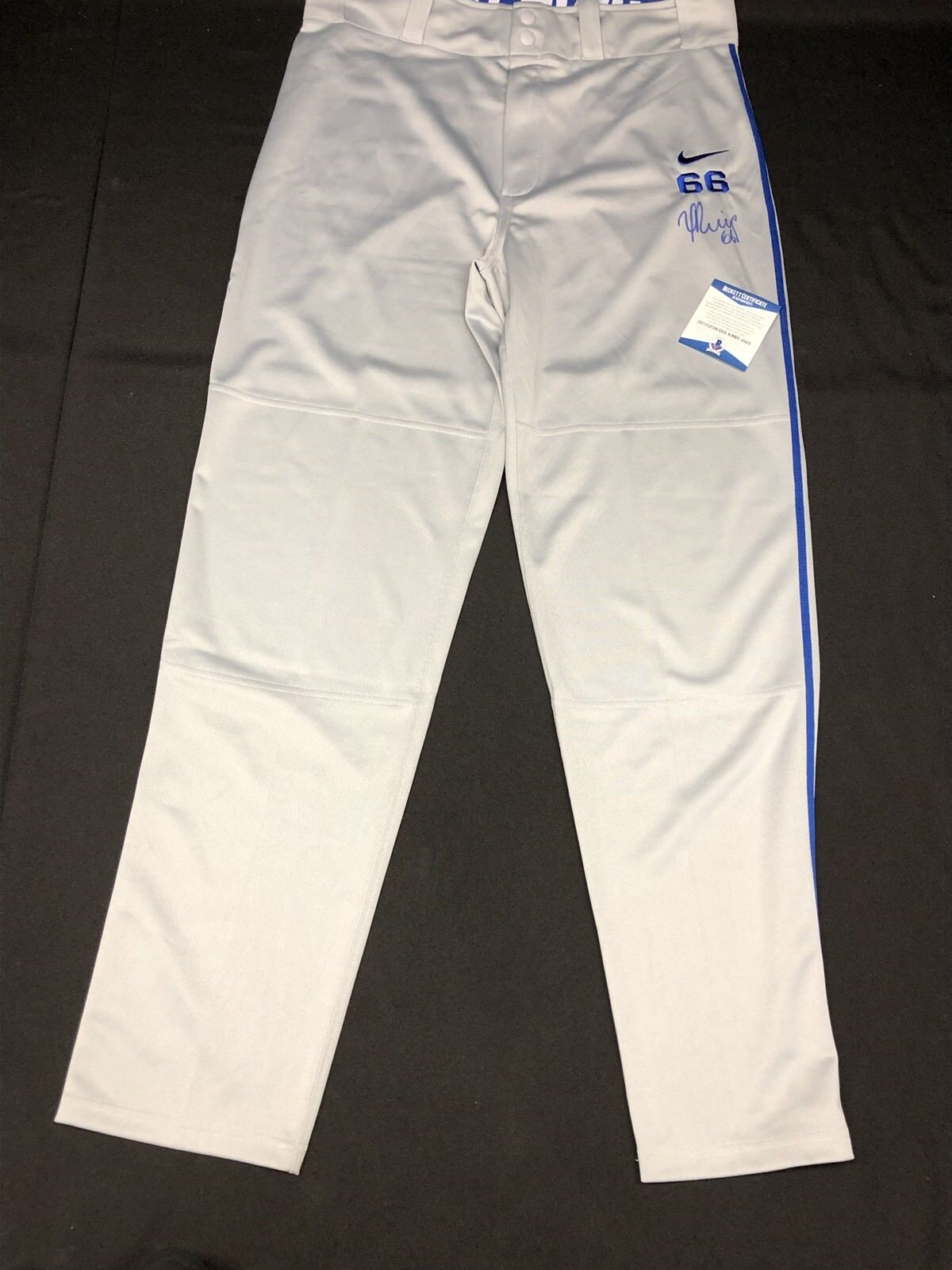 Yasiel Puig Signed Los Angeles Dodgers Baseball Uniform Pants Beckett BAS J04531