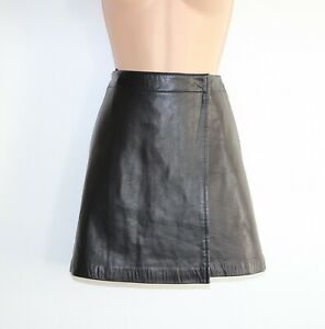 Women-039-s-Vintage-C-amp-A-YESSICA-Wrap-Short-Mini-Black-100-Leather-Skirt-W27-UK8