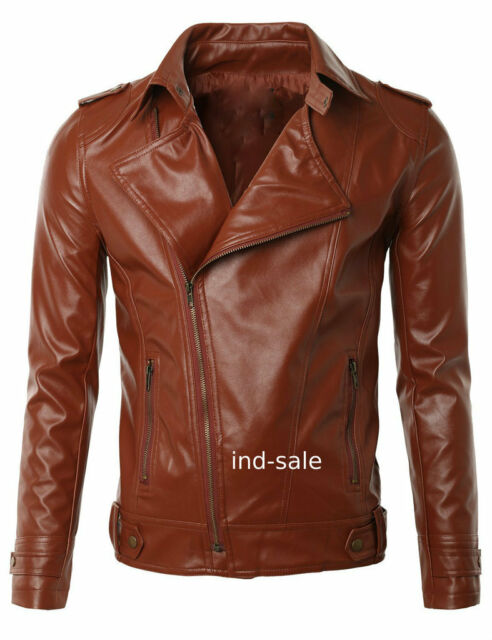 Genuine Lamb Skin Leather Custom Tailor Made Jacket Biker Tan Brown
