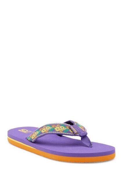 NEW Teva Mush II 5 Youth Big Girl/'s Flip Flops Sandals Purple Wide Straps