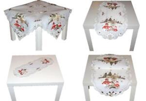 Tischdecke 35x70 cm mit Stickerei Sterne grau Weihnachten Advent Tischläufer