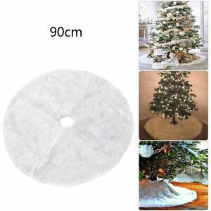 USA Long Plush Snow Flake Christmas Tree Skirt Base Floor Mat Cover Party Decors