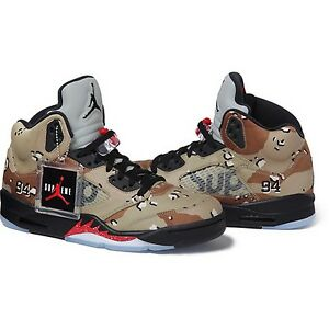 new products 46a97 9cac9 Image is loading SUPREME-x-Air-Jordan-5-V-Retro-Camo-