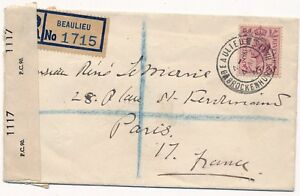 Lettre-London-Censored-Beaulieu-France-Cover-Brief-England-Great-Britain