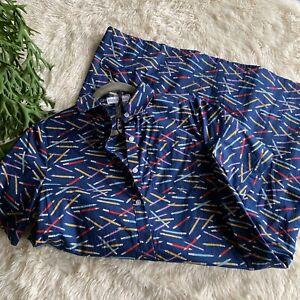 Modcloth-Frock-Shop-Camisa-Vestido-Azul-Marino-Lapiz-Imprimir-profesor-lapiz-de-tamano-pequeno