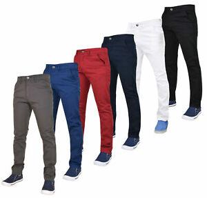 Enzo-Mens-Slim-Fit-Chinos-Jeans-Skinny-Stretch-Denim-Trousers-Pants-Big-amp-Tall