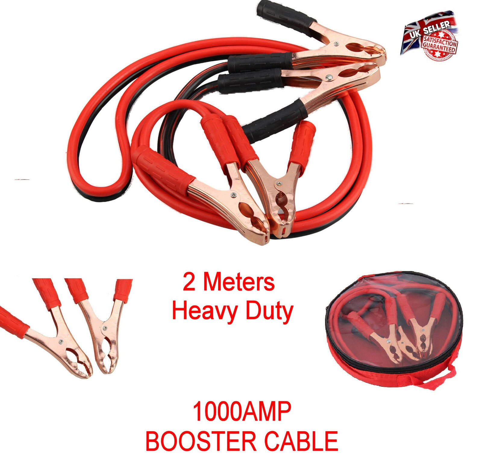 Heavy Duty Jump Leads Battery Start Cable Long Jumpleads Car Booster Van Boost