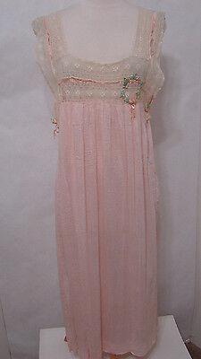 Vintage Crochet Cut Out Pink Sleeveless Night Dress W Rosette Ribbon Trim S