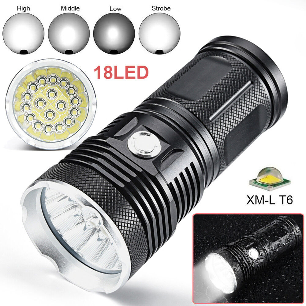 80000 LM 18X XML T6 LED 4X18650 Flashlight Military Tactical Torch 4X18650 LED Hunting Lamp 6e5816