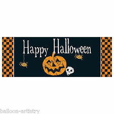 56cm Halloween Chequer Pumpkin Skull Party PVC Plastic Sign Banner Decoration