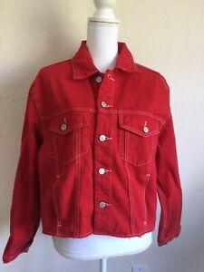 brandy-melville-red-cut-out-Kaylee-denim-jacket-NWT-sz-S-M