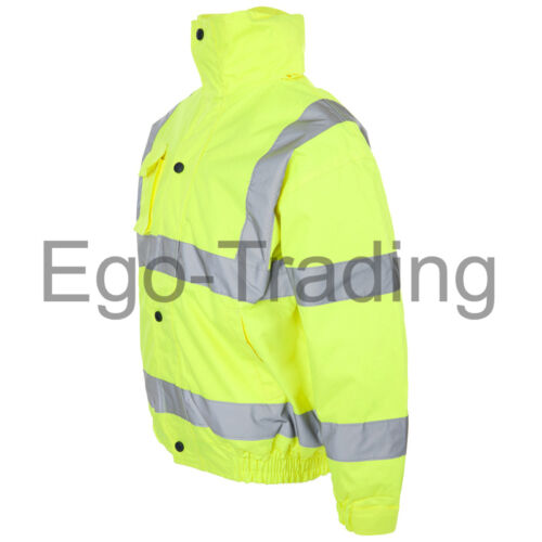 High Vis Storm Padded Waterproof Security Coat. Hi Viz Safety Bomber Jacket