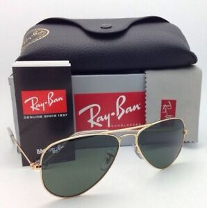 New-RAY-BAN-Sunglasses-SMALL-METAL-RB-3044-L0207-52-14-Gold-w-G15-Crystal-Green