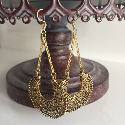 Khloe Ethnic Gold Plated Chain Link Earrings Drop Dangle Moroccan Boho Chic