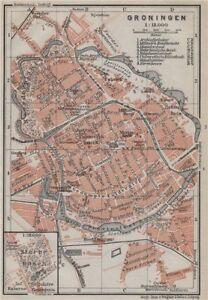 GRONINGEN antique town city stadsplan. Netherlands kaart. BAEDEKER ...