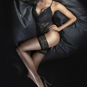 896d6f46021 NEW ULTRA GLOSS 10 DENIER LACE TOP HOLD UPS STAY UPS STOCKINGS FROM ...