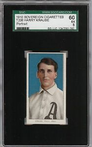 Rare 1909-11 T206 Harry Krause Portrait Sovereign 350 Phila SGC 60 / 5 EX