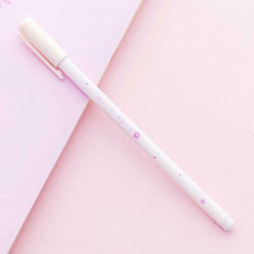 1pc Cute Cheery Print Cartoon Gel Ink Pen 0.38mm Black Ink Student W8P3
