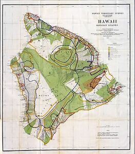 1906-Antique-MAP-POSTER-Hawaiian-islands-coastal-plantations-survey-HAWAII-1