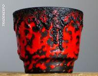 Vintage 60-70's FOHR Keramik FAT LAVA Red Black Planter Pot German Pottery Vase.