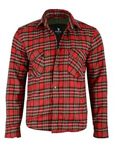 Black-Tab-RED-Motorcycle-Shirt-FULLY-Protective-Made-With-Kevlar-Lining-Armour