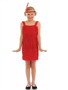 GIRLS RED FLAPPER 20/'S 30/'S BUGSY MALONE FANCY DRESS COSTUME