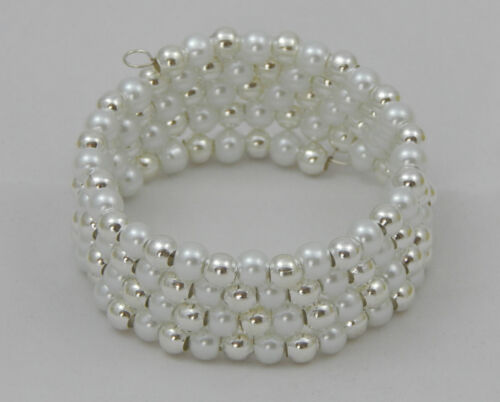 PEARL /& SILVER MEMORY WIRE BRACELET 4 COILS PINK BLUE WHITE SMALL CHILD//ADULT