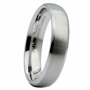 5mm-White-Tungsten-Carbide-Brushed-Curved-Polish-Edge-Wedding-Band-Ring