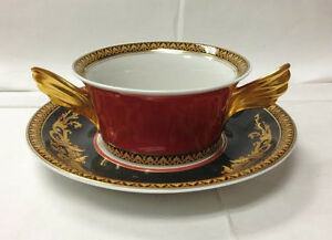 Details about VERSACE MEDUSA RED CREAM SOUP CUP AND SAUCER BRAND NEW PORCELAIN ROSENTHAL