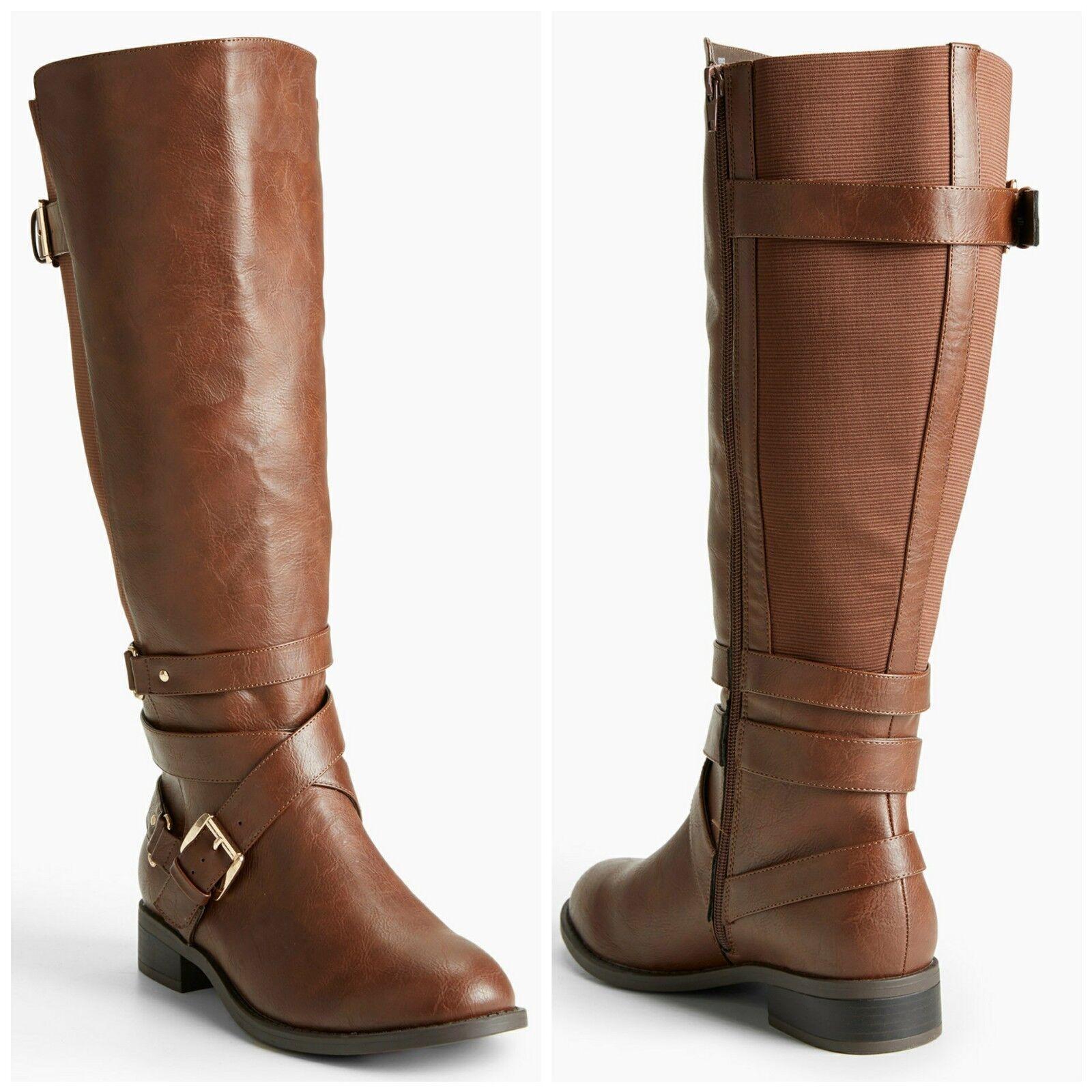 TORRID NIB Size 6.5W Brown Multi Buckle Strap Gore Tall Boots (Wide Width)