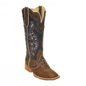 84133be1455 Details about RockinLeather Ladies Tall Distressed Brown & Blue Square Toe  Boot 2127