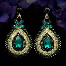 18K Gold Plated GP Green Crystal Rhinestone Drop Chandelier Dangle Earrings 6064