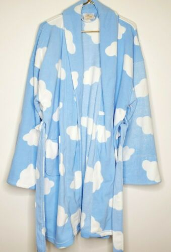 Aegean Apparel Fuzzy Housecoat Robe Puffy Clouds K
