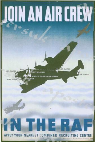Vintage RAF Air Crew Recruitment Poster A4//A3//A2//A1 Print