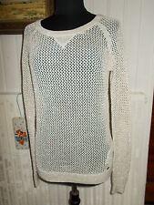 Pull maille long ajouré coton beige fil Doré HOLLISTER M 36/38 transparent