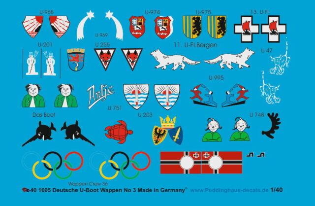 Peddinghaus-Decals 1//87 0936 Deutsche U-Boot Wappen Flottille Wappen und Fahnen