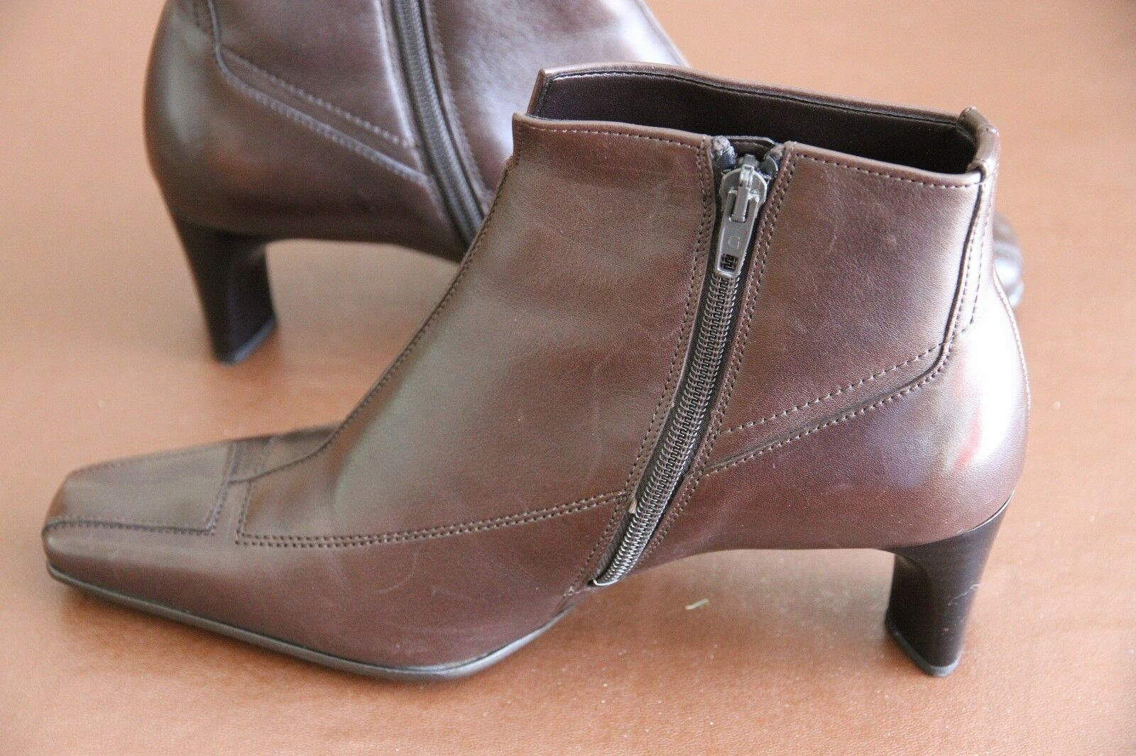 New Gabor Brown Leather Heeled zipped Ankle Boots 5 square chisel Toe size 5 Boots 5cee1f