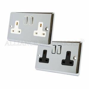 Polished-Chrome-Classical-2-Gang-Socket-13-Amp-Double-Wall-Plug-Socket-Outlet
