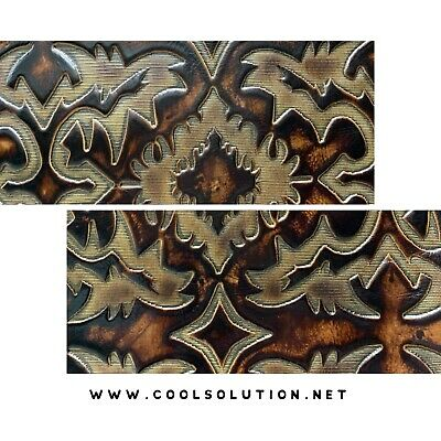Custom Cuts Wallets  or any DIY 1.2-1.4 mm  3-3.5 oz Leather for Bags Embossed Leather Sheet Cattle Skulls Brown Turquoise
