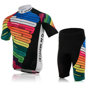 Mens-Cycling-Colourful-Jersey-Pad-Short-Set-Quick-Dry-Breathable-Clothing-Bike