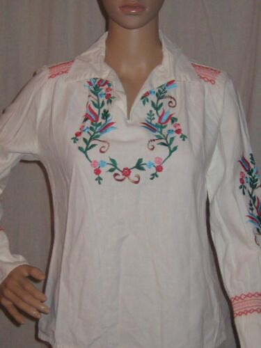 Vintage 1940s Embroidered Peasant Blouse Mexican T