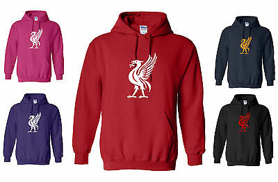 LIVERPOOL LIVER BIRD RED/WHITE HOODY S/M/L/XL/XXL, LARGE LOGO, NEW WITH TAG
