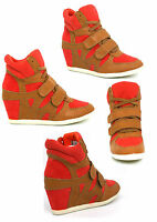 LADIES WOMENS NEW HIDDEN WEDGE TRAINER ANKLE BOOTS HI TOP SHOES SIZE 3 4 5 6 7 8