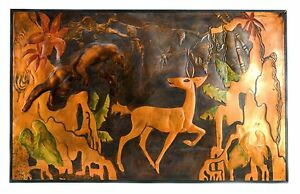 Vintage-Deco-Jungle-Panther-Tropical-Scene-Embossed-Copper-Signed-Art-E-Kaufman