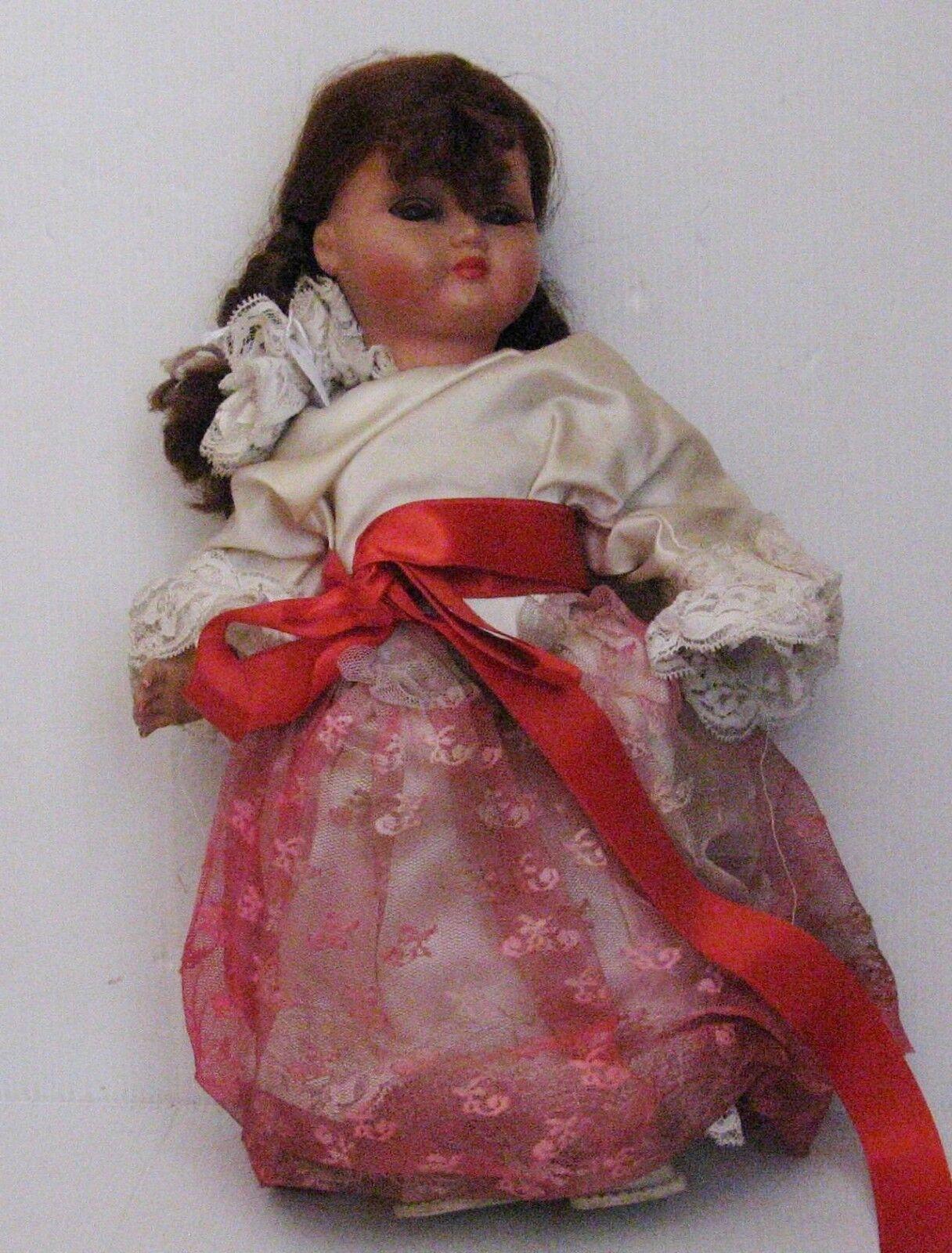 2514 poupée celluloid doll bella yeux dormeur ancienne avec habits d'origines