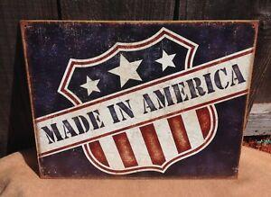 Made-in-America-Tin-Metal-Sign-Patriotic-Flag-Shield-Wall-Garage-Shop-Vintage